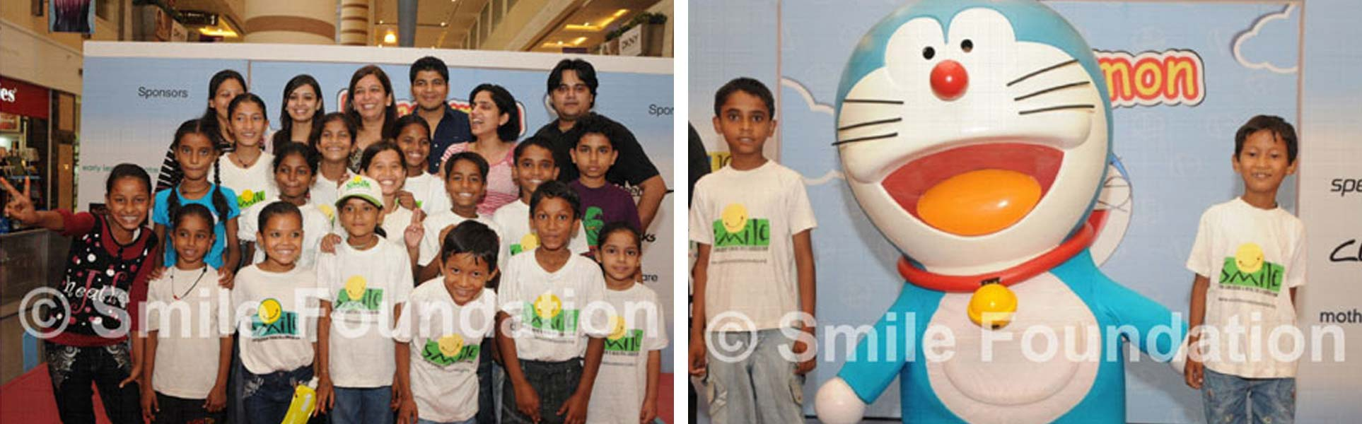 Smile Foundation kids enjoy with Doraemon at DLF Place Saket