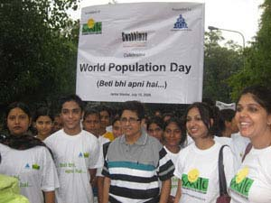 Dr.Kiran Bedi, a social activist and a retired IPS officer, associated with Smile Foundation for Beti Bhi Apni Hain Campaign on World Population Day